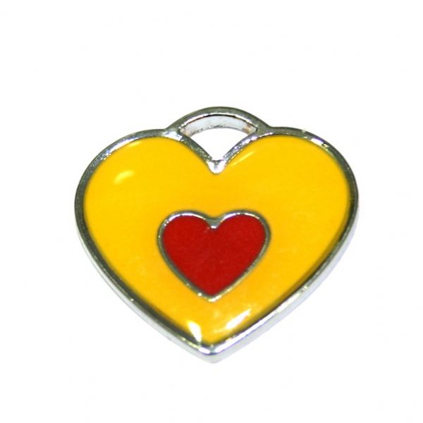 1 x 20*19mm rhodium plated double heart enamel charm - yellow with red little heart- SD03 - CHE1265